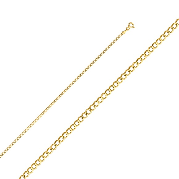 """TGDJ Other - 14k Yellow 2.2 mm Cuban Concave Chain - 16"""""""